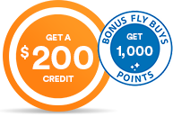 Get a $200 credit plus Fly Buys points